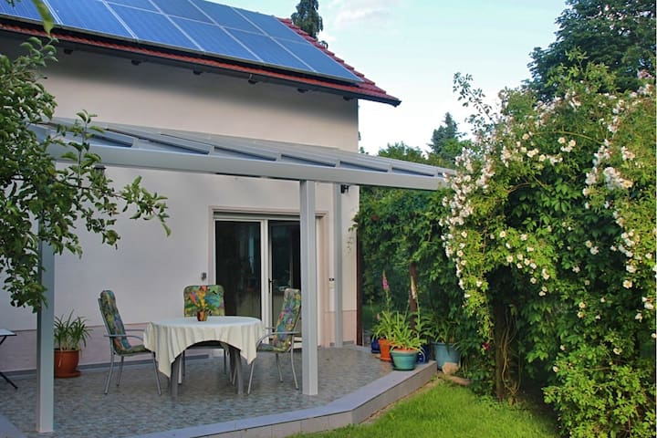 Spacious holiday home in Frankenfelde with a large terrace and a fantastic view