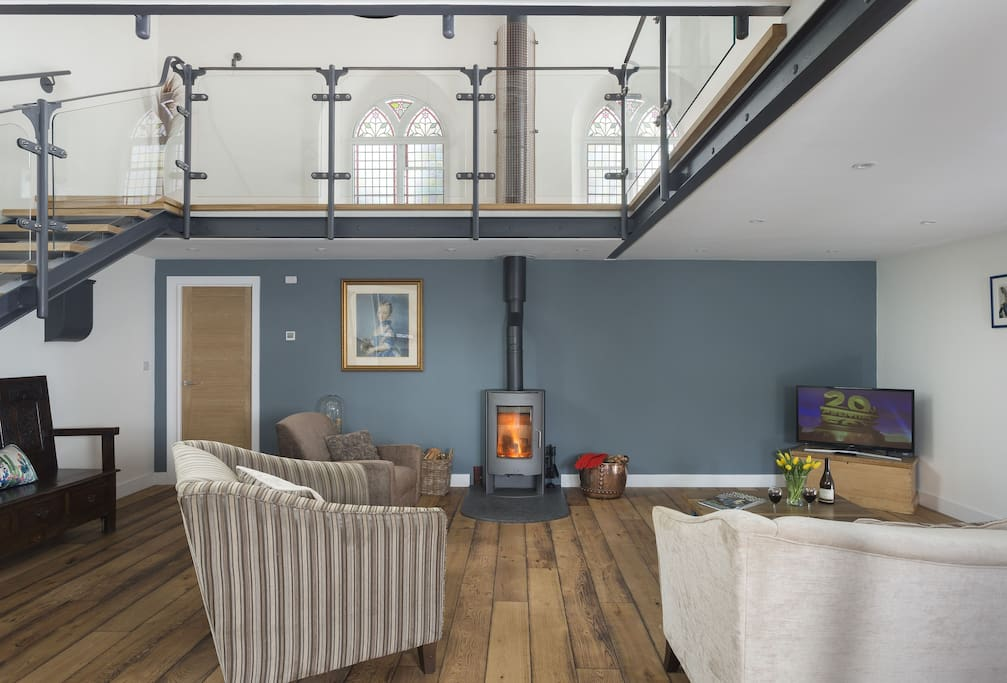 Ground floor: Open plan living area with wood burning stove