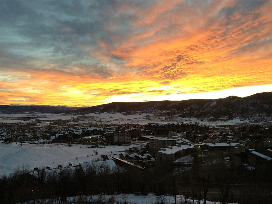 Sunset view of the Steamboat base area