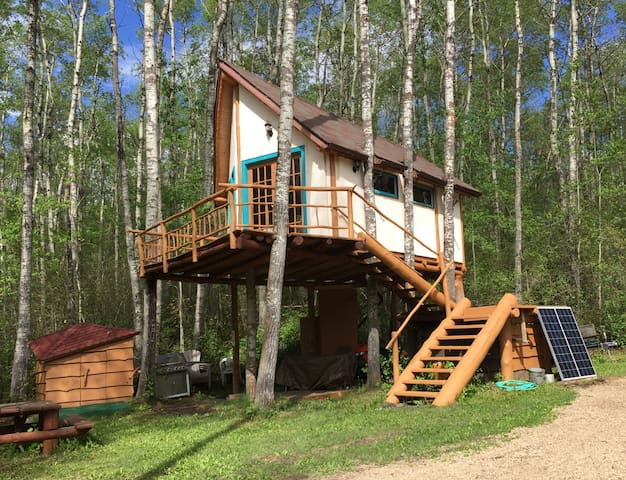 Solar powered treehouse sits 12 feet above ground