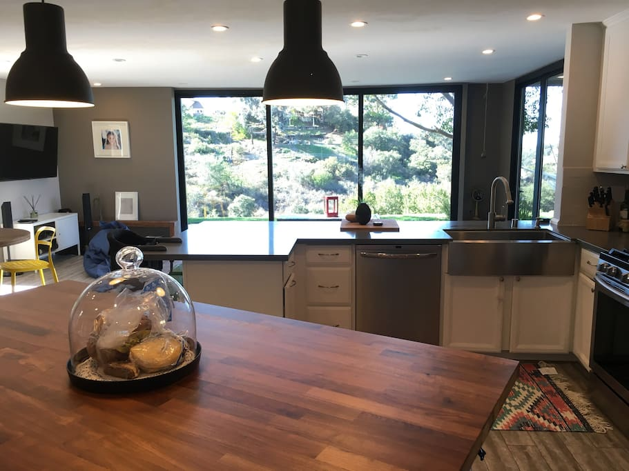 Kitchen facing canyon