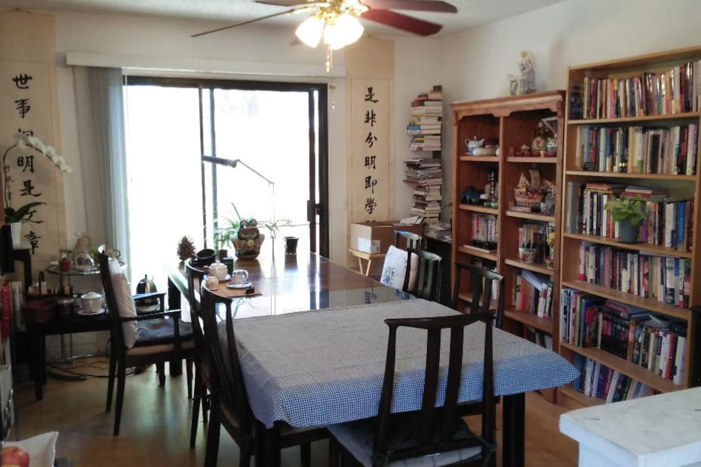 Dining for guests and Tea Room with book shelves, for my reading and writing.