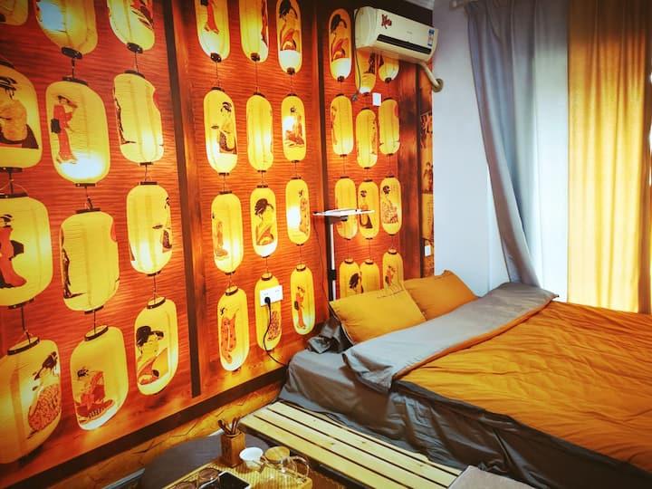 青舍民宿【拾柒】日式榻榻米|灯笼墙|私人影院|大学城|宝龙广场