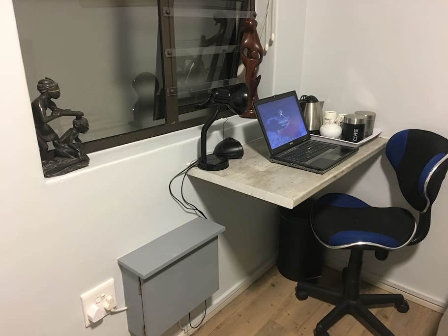 en-Suite office desk with kettle. Fitting for all international plugs in grey box.  Uncapped Fiber optic wi-fi