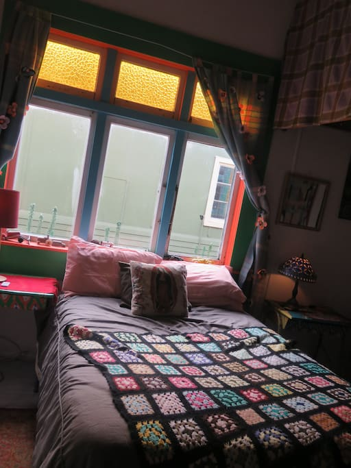 your room has one double bed and single bunk beds, there is lots of room to hang out in this warm space.
