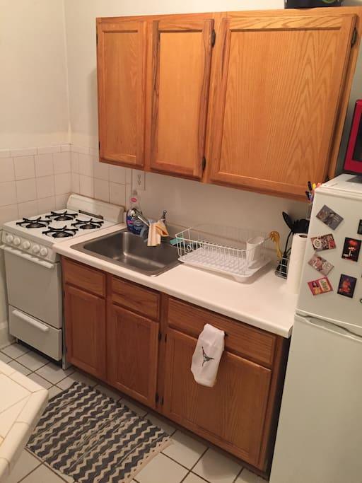 Kitchen (stove/microwave/fridge) (no dishwasher)