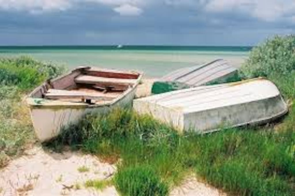 rustic boats by the sea shore