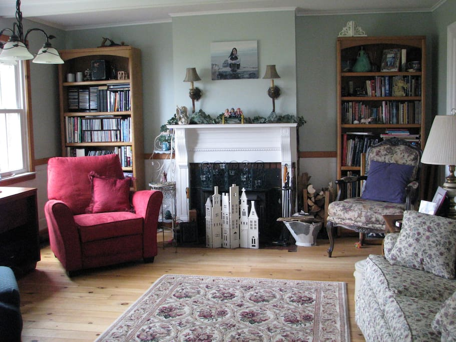 View of living room from doorway to dining room.