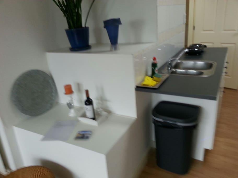 achterkamer: entree,  spoel-/wasblok met kookplaatje