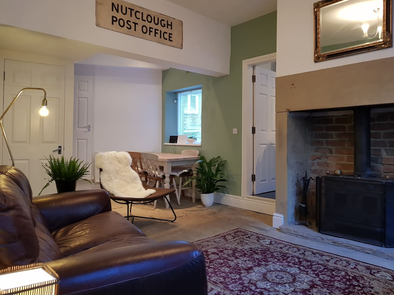 Living/dining room with wood burning stove