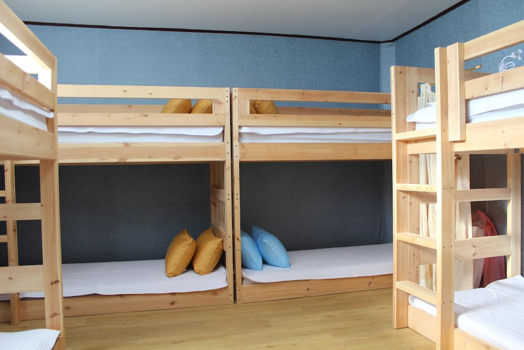 bedroom I - all natural pine tree bed with premium mattresses - 8 beds.