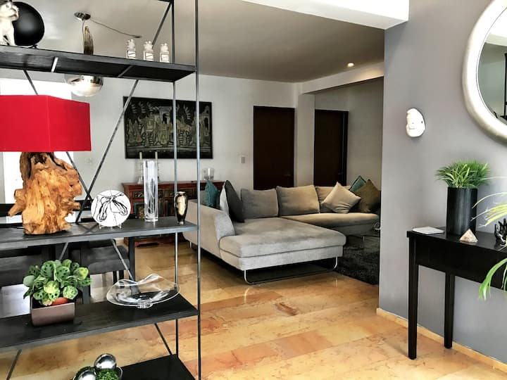☆ Sanitized  Next to Condesa and WTC 2 BR/ BTHR AC