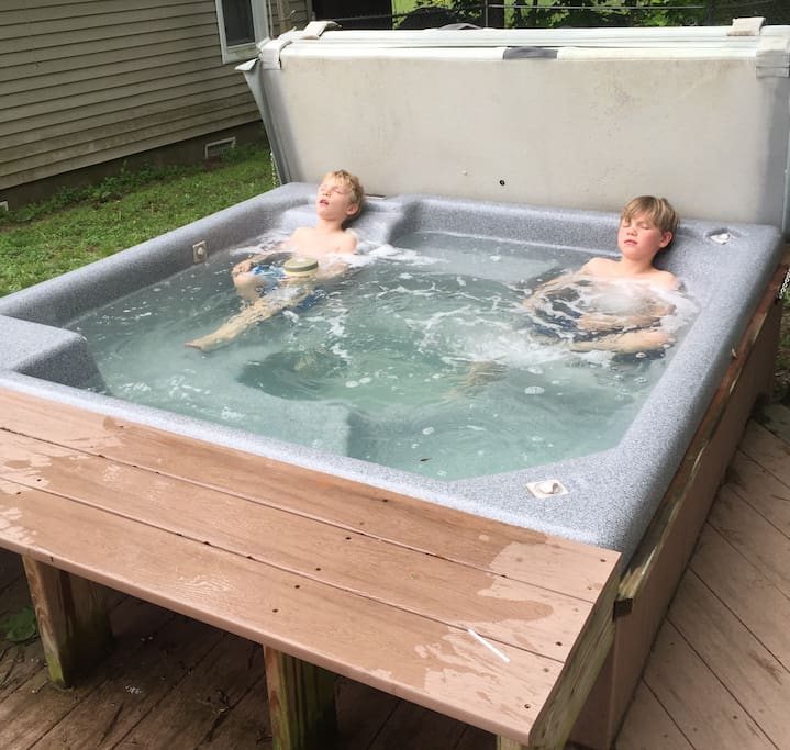Hot tub in action