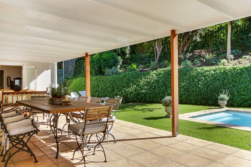 Outdoor patio for dining and lounging