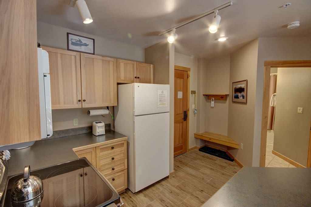 Abundant counter space for a one bedroom.