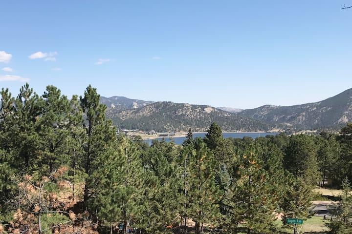 Panoramic views of Lake Estes and Mt Olympus