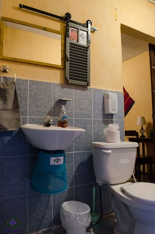 bathroom private with hot water