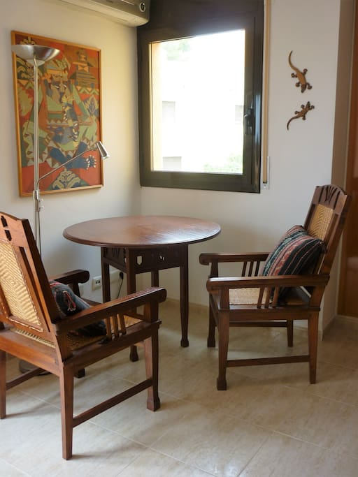Art deco chairs and table for relaxing or working