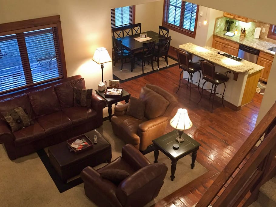 Open floor plan with comfortable leather seating