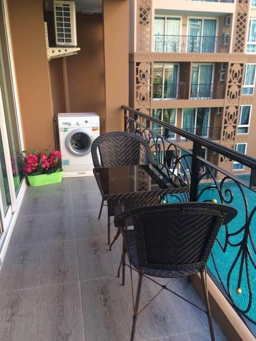 Balcony with washing machine