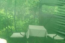 Dining tent with dish-washing station