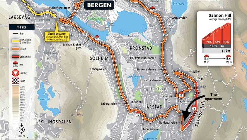 Location of the apartment is right in the middle of the UCI World Championship -action!