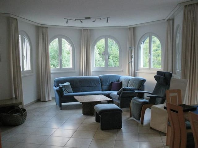 Comfortable, spacious living room with fantastic views up the Gemmibahn and surrounding mountains