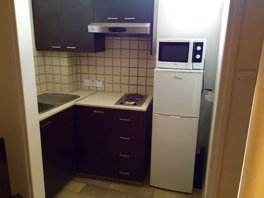 Kitchen contains microwave, cutlery set, plates, glasses, pans, all kitchen utilities. Electric hobs with extractor hood. All new.