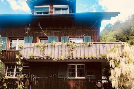 altes Bauernhaus mit Blick auf die Glarner Alpen