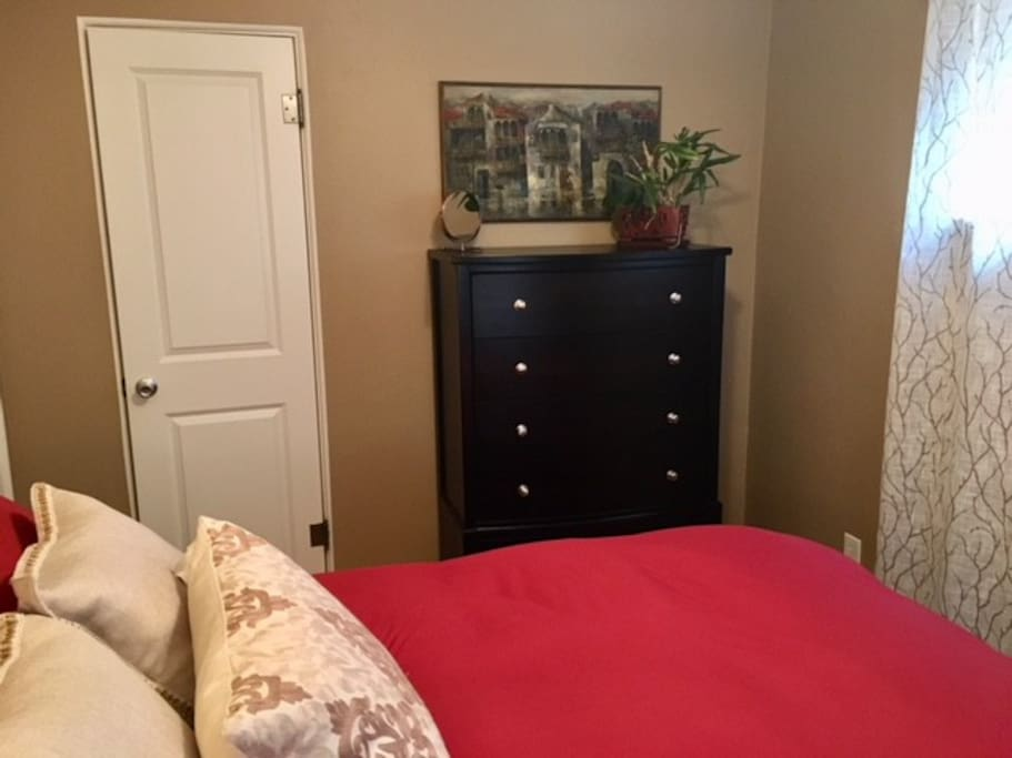 Plenty of drawer and closet space for a comfortable stay.
