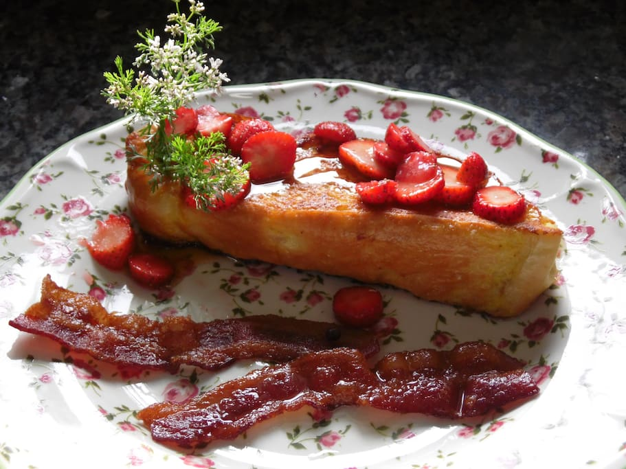 Strawberry Stuffed French toast with Spiced smoked bacon