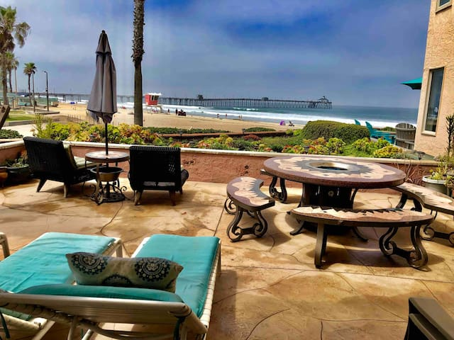 Oceanfront condo on sand with large patio