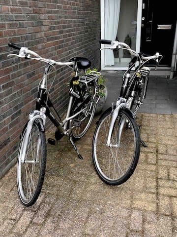 Maak gebruik van onze fietsen. Groningen is een echte fietsstad.  You are welcome to use our bikes. This city really invites bikers.