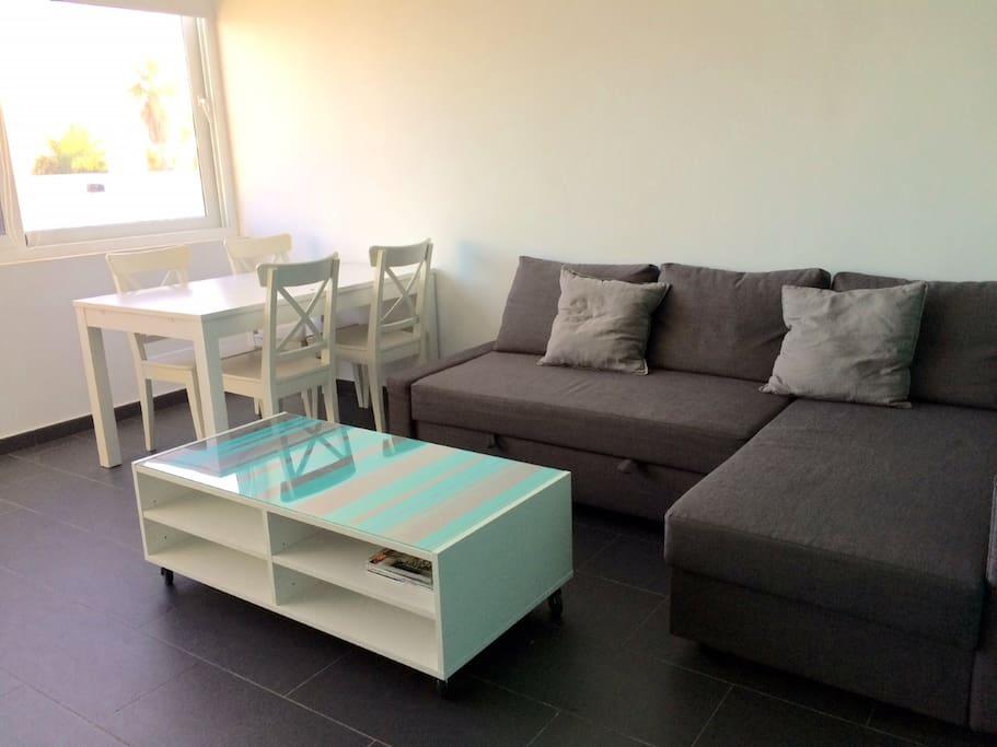 Amplio y acogedor salón. Sofa cama
