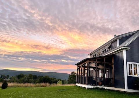 Modern farmhouse with expansive views