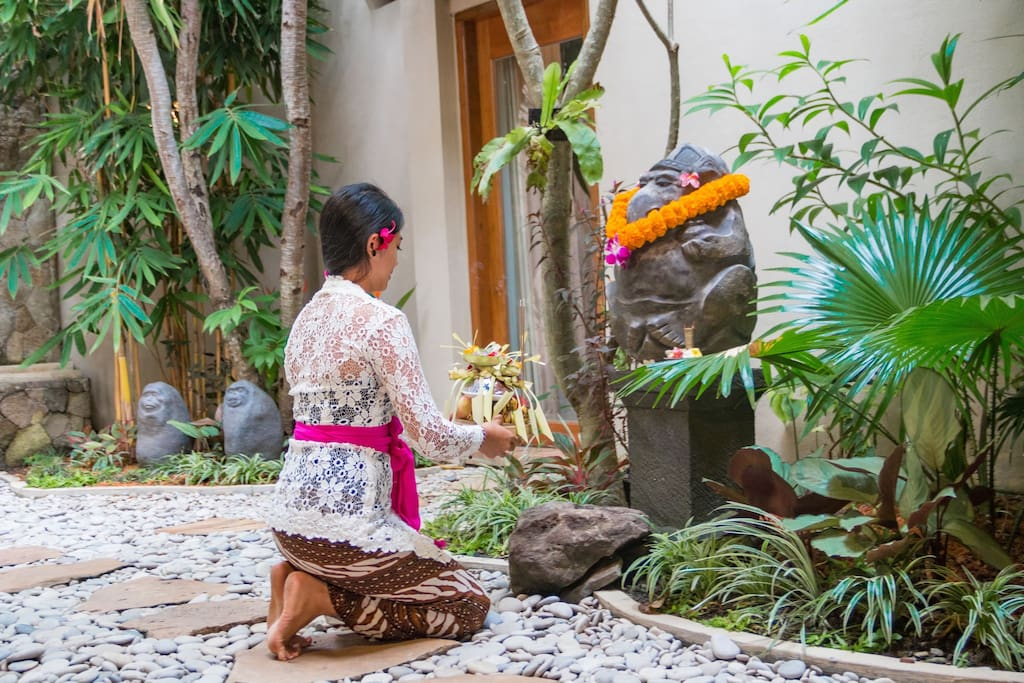 Flower offerings are a daily tradition in Bali and at Atman Villas