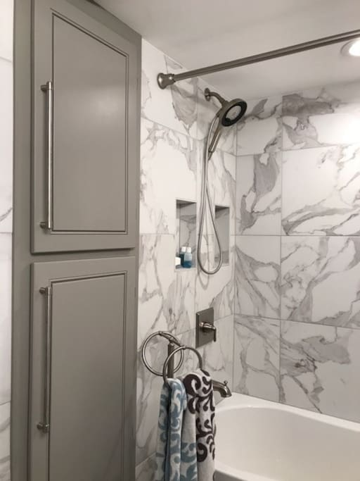 Luxurious combination shower and tub in separate bathroom