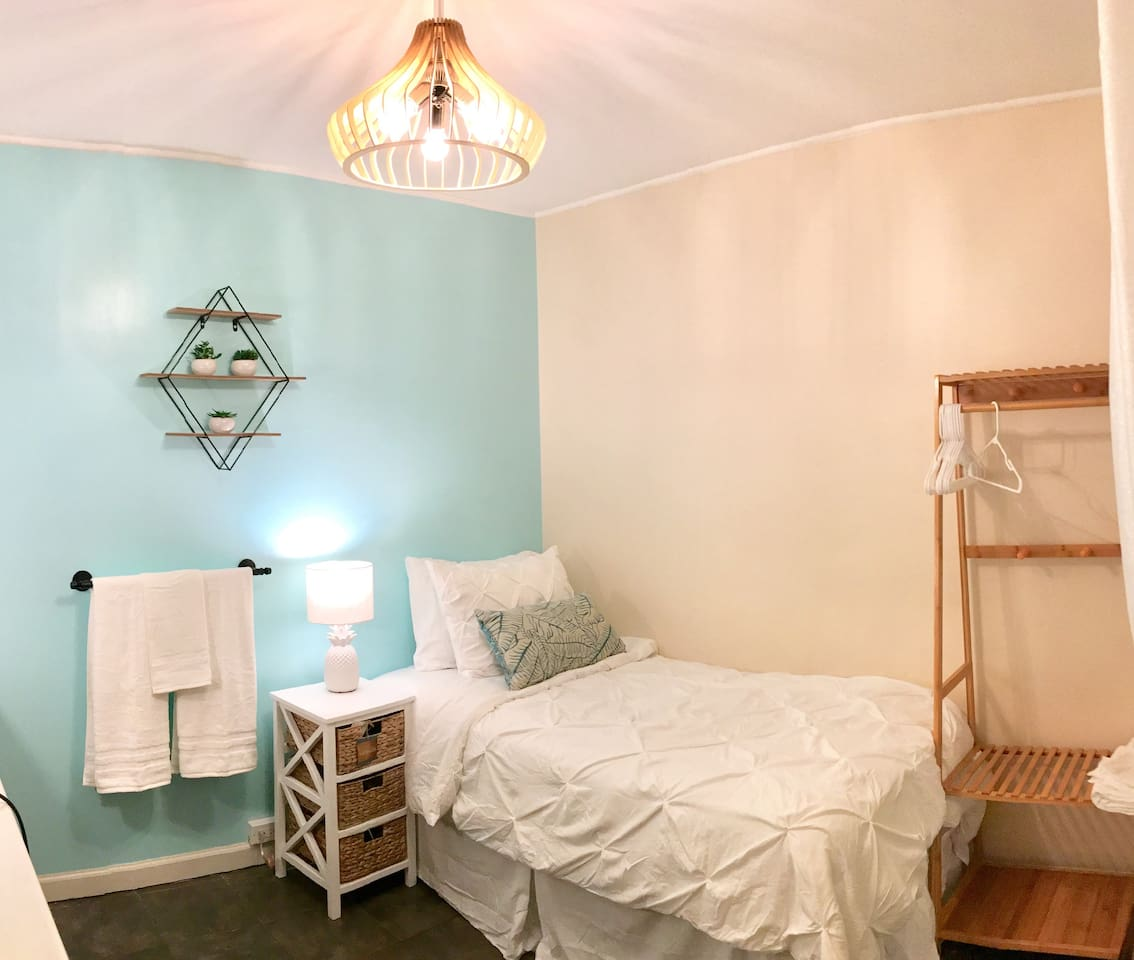 Newly upgraded rooms. Tahitian blue accent wall and many bamboo fixtures for that local island feel.