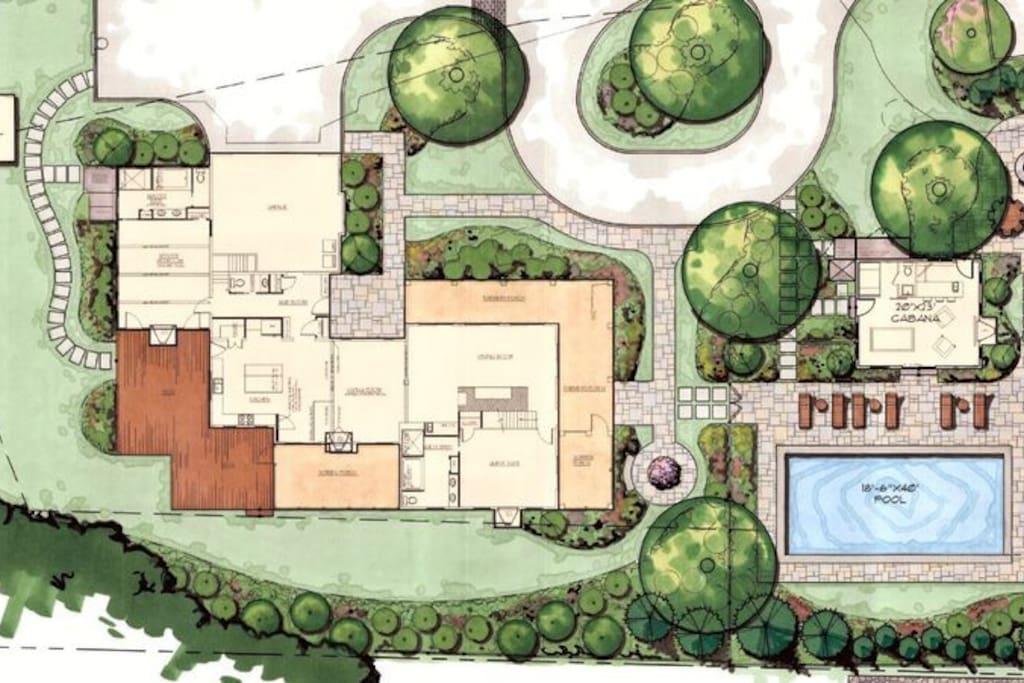 18'x40' pool, hot tub, cabana and plenty of living space