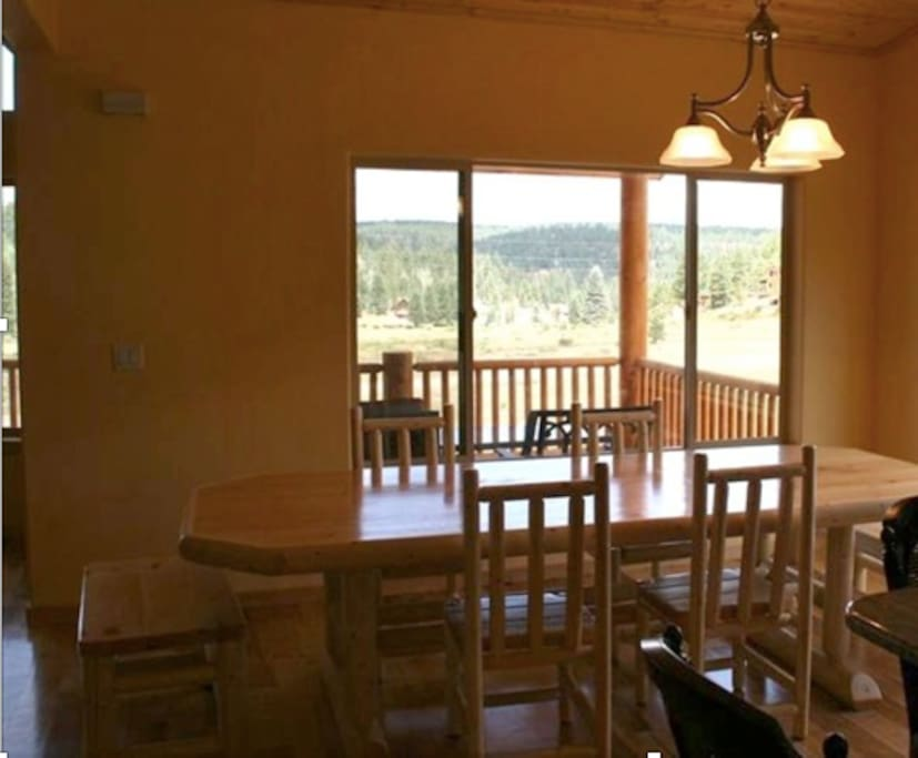 Dining area with views of the meadows