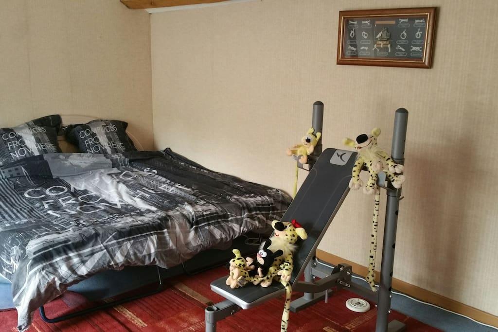 Bout chambre 33 m2.elle fait 3 fois la photo..banc de muscu pour courageux