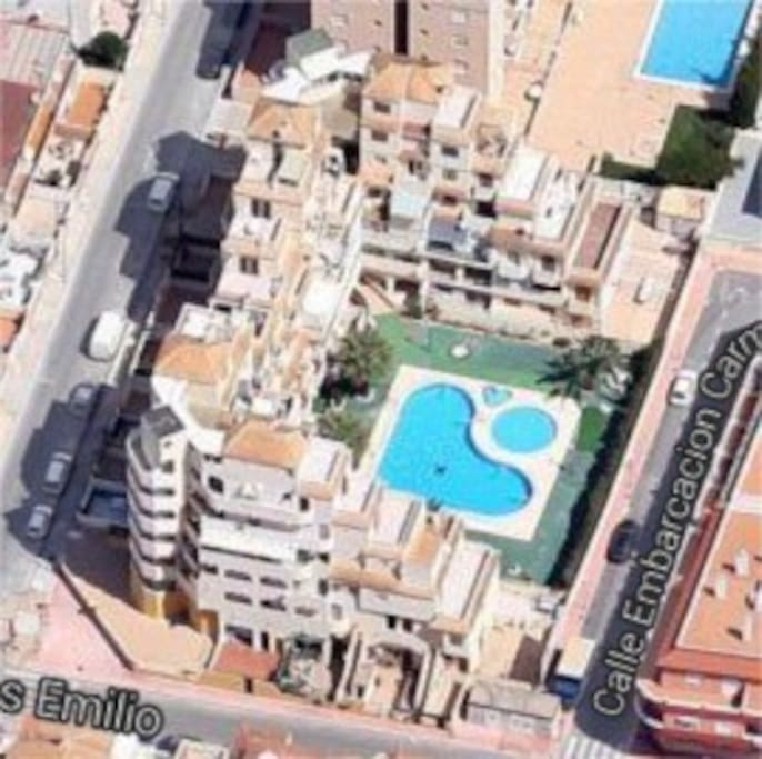 Aerial view of apartment and swimming pool