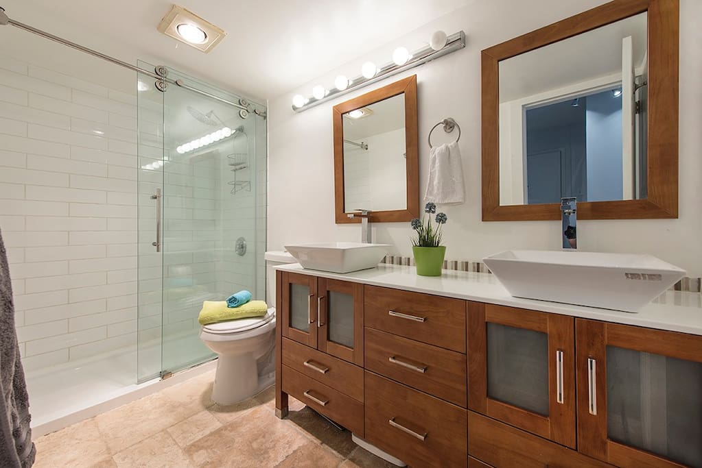 Get ready for a night out on the town in the spacious bathroom!