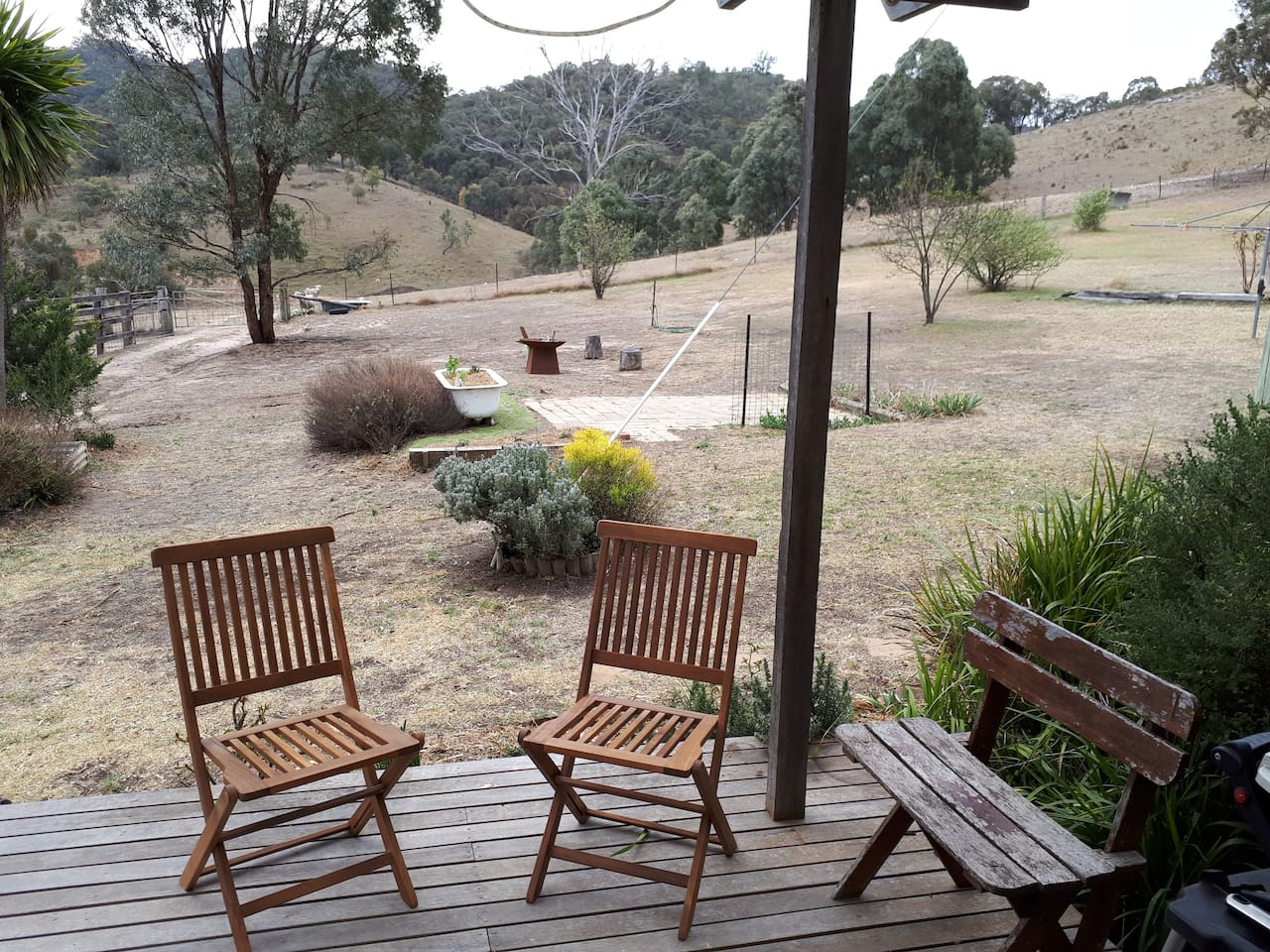 Enjoy mornings and afternoons on the sunny north facing deck and use the fire pit - fire restrictions permitting