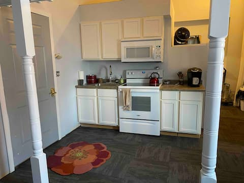 Newly renovated studio with loft on first floor.