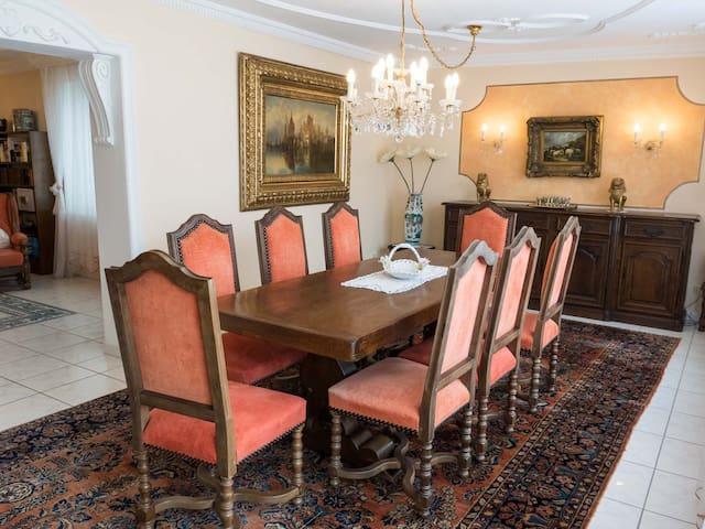 Lounge/Eßzimmer. Tisch aus Eiche massiv, 8 Stühle aus Eiche massiv