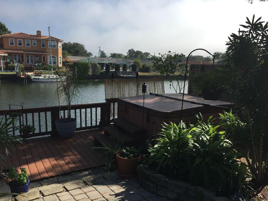 Backyard hot tub overlooking the canal.