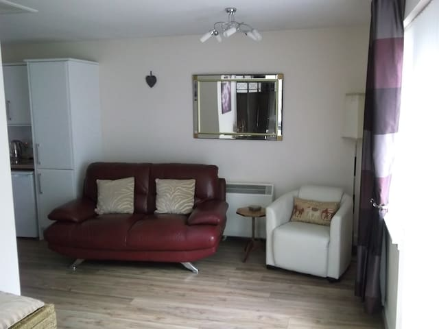 Another view of the airy living room