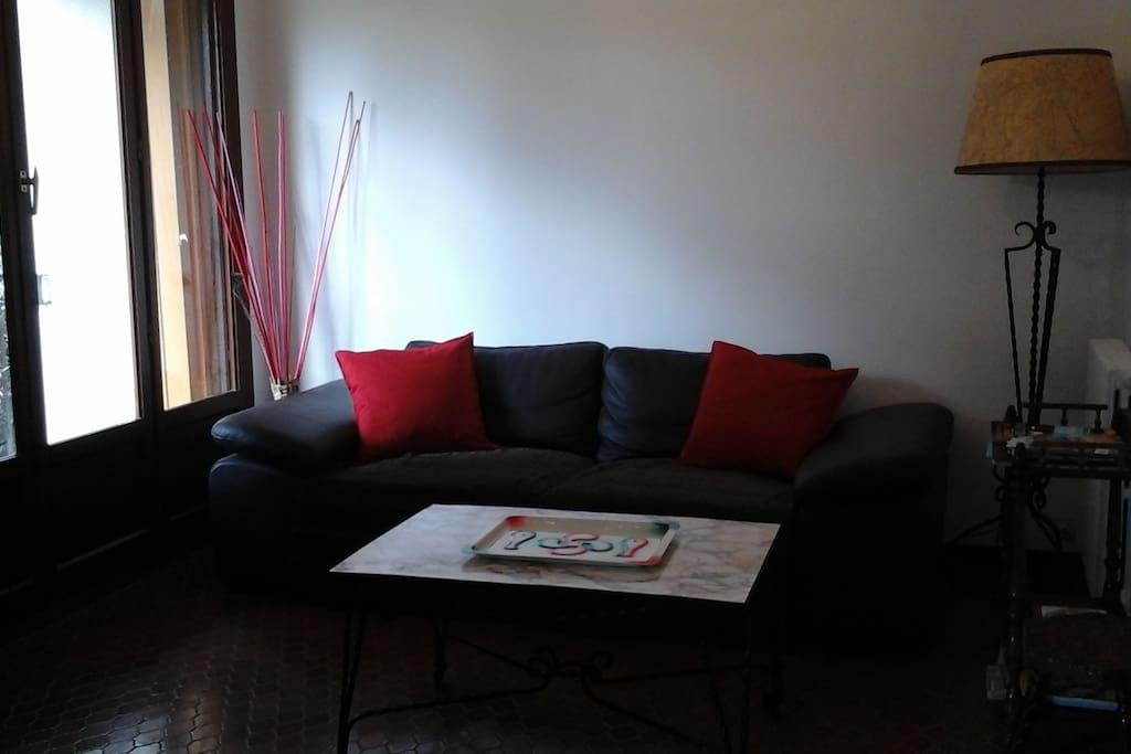Petit salon chaleureux avec canapé, table basse, tv, lecteur dvd