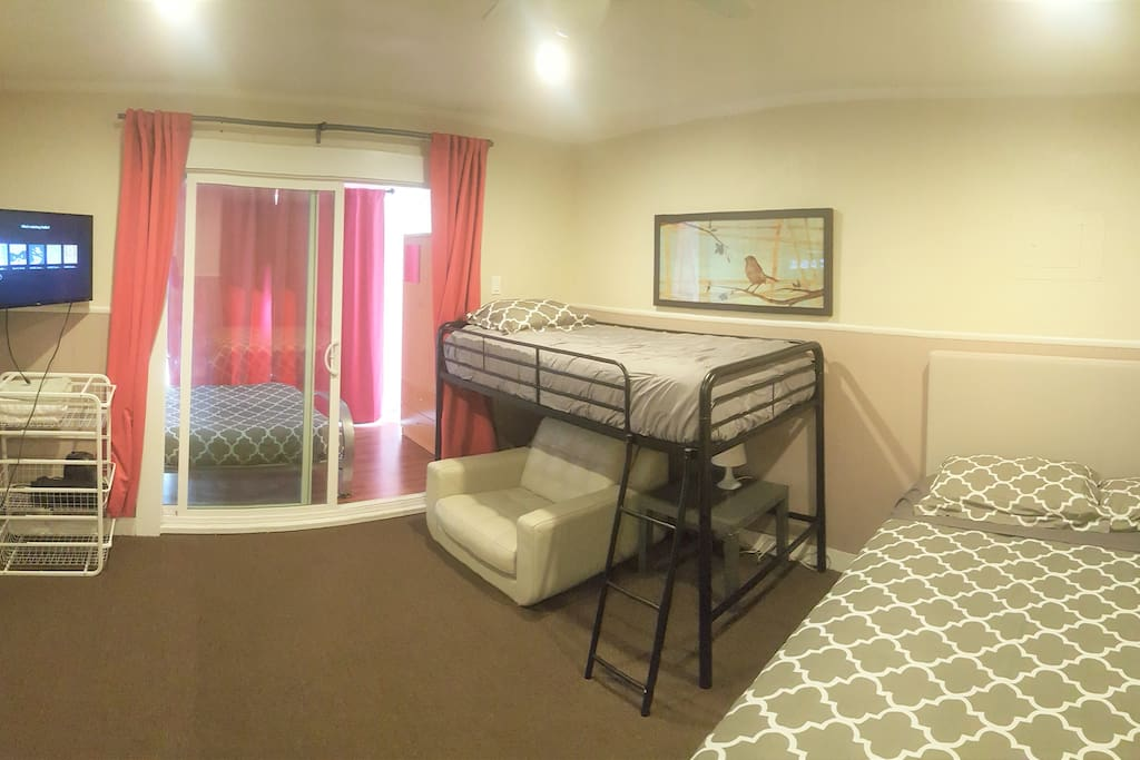 These are your two bedrooms pictured here.  The back room is a bit smaller, but has a full bed.  You need to go through one room to get to the other, so they are not fully separate